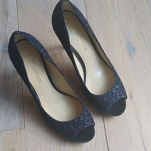 Enzo Angiolini Black Sequin Peep Toe Pumps Heels